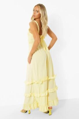 boohoo Ruffle Shirred Tie Back Tiered Maxi Dress