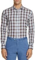 Canali Plaid Regular Fit Button-Down Shirt