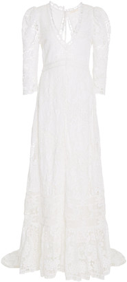 LoveShackFancy Cloud Bridal Lace Maxi Dress