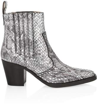 Ganni Western Snakeskin-Embossed Leather Ankle Boots