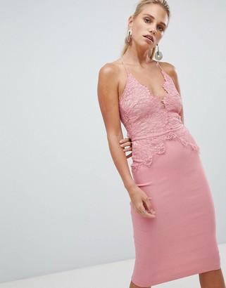 Rare London scallop place bodice midi dress-Pink