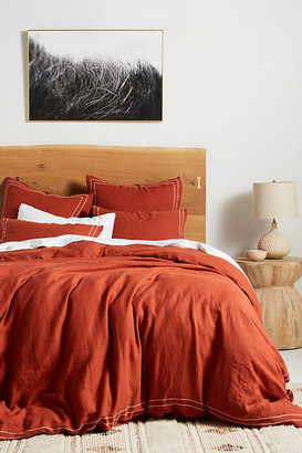 Anthropologie Moderna Linen Duvet Cover By in Orange Size Q top/bed
