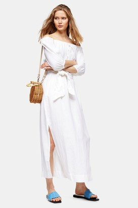 Topshop Womens Ivory Linen Blend Belted Bardot Midi Dress - Ivory