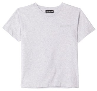 Balenciaga Kids Logo-embroidered Cotton T-shirt - Light Grey