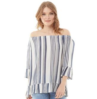 Onfire Womens Bardot Stripe Flare Cuff Tunic White/Blue