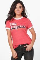 boohoo Freya Los Angeles Ringer T-Shirt coral