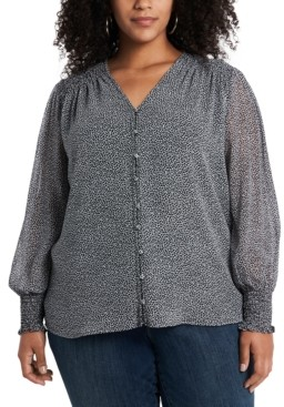 1 STATE Trendy Plus Size Smocked-Trim Blouse