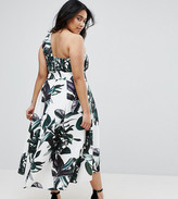 Asos Palm Print One Shoulder Scuba Dip Back Prom Dress