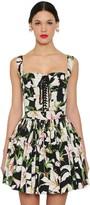 Dolce & Gabbana Printed Lace-up Cotton Poplin Crop Top