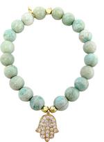 Gold Vermeil Pave Hanging Hamsa Charm Bracelet