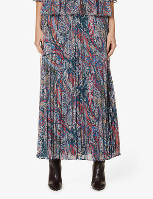 Ted Baker Dawwn pleated paisley-print maxi skirt