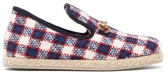 Gucci Fria Checked Wool-tweed Slippers - Womens - Navy Multi