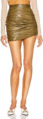 ZEYNEP ARCAY Mini Draped Leather Skirt in Olive | FWRD