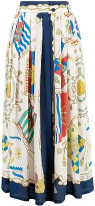 Etro Flag Print Full Skirt