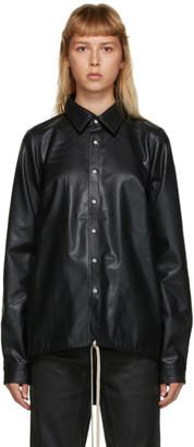 Rick Owens Black Vegan Leather Shirt