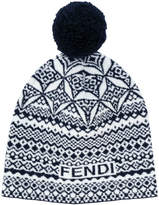 Fendi embroidered pom-pom beanie hat