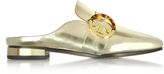 Tory Burch Sidney Spark Gold Metallic Leather Backless Loafers