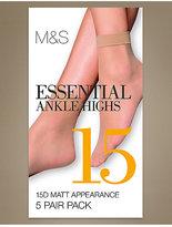 M&S Collection 5 Pair Pack 15 Denier Matt Ankle Highs