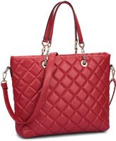 Dasein Red Jethro Quilted Tote
