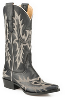 Stetson Black & Cream Leather Cowboy Boot