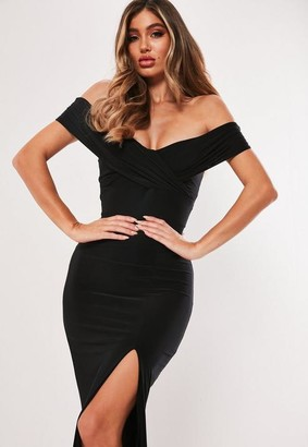 Missguided Black Bardot Wrap Slit Slinky Maxi Dress