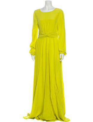 Rochas Bateau Neckline Long Dress Yellow