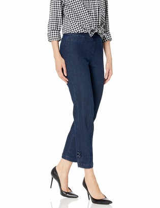 Slim Sation SLIM-SATION Women's Plus Size Wide Band Pull On Crop Pant with Bows@ Hem Vents