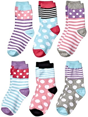 Jefferies Socks Dots and Stripes Crew 6-Pack (Toddler/Little Kid/Big Kid) (Multi) Girls Shoes