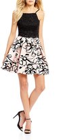 Jump Lace Top with Flocked Skirt Two-Piece Dress