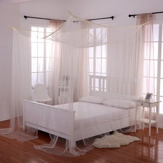 Off-White Casablanca Ecru Palace 4-Post Bed Sheer Mosquito Net Panel Canopy
