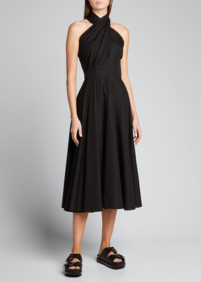 Alexander McQueen Twisted Halter-Neck Midi Cotton Dress