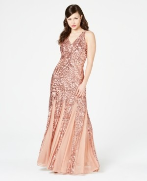 Night Way Nightway Petite Size Sleeveless Sequin Gown