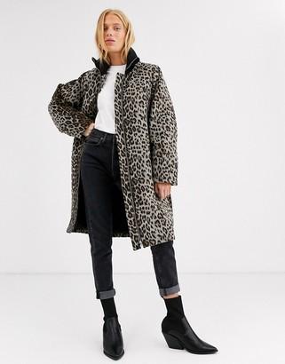 InWear Zaada leopard print funnel neck coat in wool blend