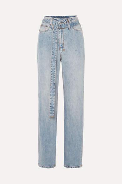 Ksubi Playback Belted High-rise Straight-leg Jeans - Light denim