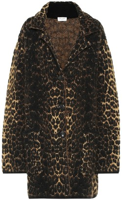 Saint Laurent Leopard-print wool-blend coat
