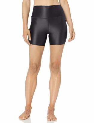 Core 10 Women's Standard Icon Series Liquid Shine High Waist Yoga Short 5 Black M (8-10)