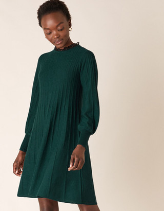Under Armour Woven Neckline Knit Dress with Recycled Polyester Green