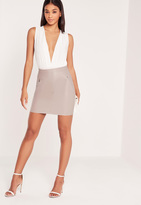 Missguided Double Zip Pocket Faux Leather Mini Skirt Grey
