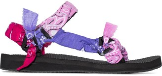 Arizona Love Pink And Purple Bandana Knotted Flat Sandals