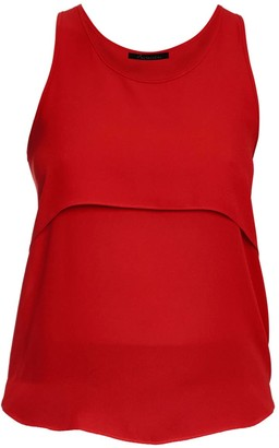 Philosofée By Glaucia Stanganelli Red Layered Chiffon Top From Recycled Polyester