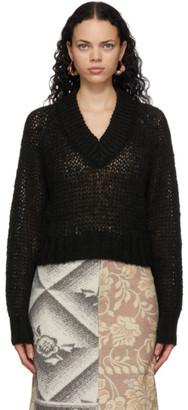 Marni Black Loose Knit V-Neck Sweater