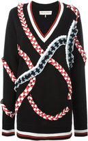Emilio Pucci v-neck jumper - women - Polyester/Viscose/Merino - S