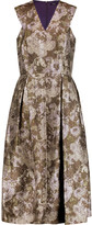 Raoul Donata pleated metallic jacquard midi dress
