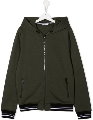 Givenchy Kids TEEN zip-through hooded sweatshirt
