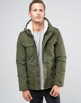 Celio Hooded Parka With Borg Lining