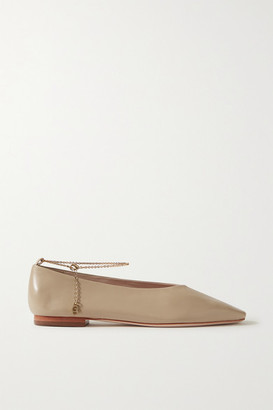 PORTE & PAIRE Chain-embellished Leather Ballet Flats - Taupe