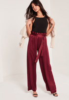 Missguided Paper Bag Waist Wide Leg Trousers Burgundy