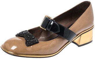 Marni Brown Patent Leather Embellished Bow Mary Jane Buckle Strap Pumps Size 38