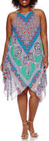 MSK Sleeveless Halter Printed Handkerchief-Hem Sheath Dress - Plus