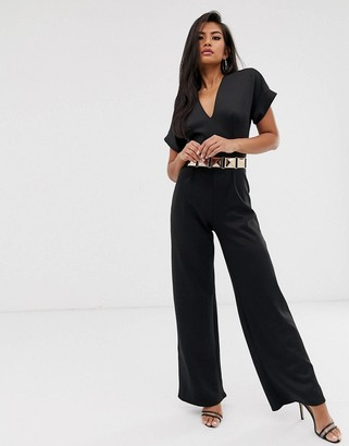 Club L London tailored jumpsuit with belt